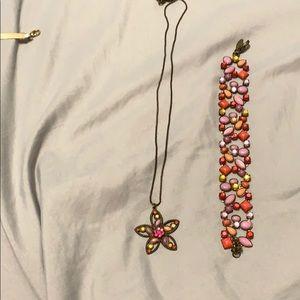 Floral necklace and Bracelet set